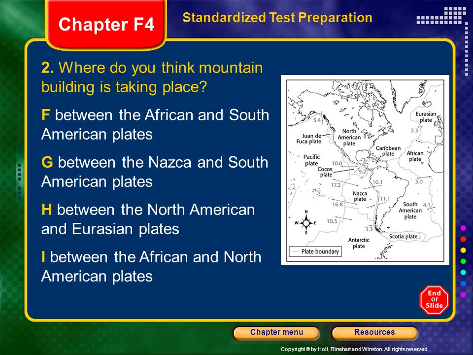 Chapter F4 2. Where do you think mountain building is taking place