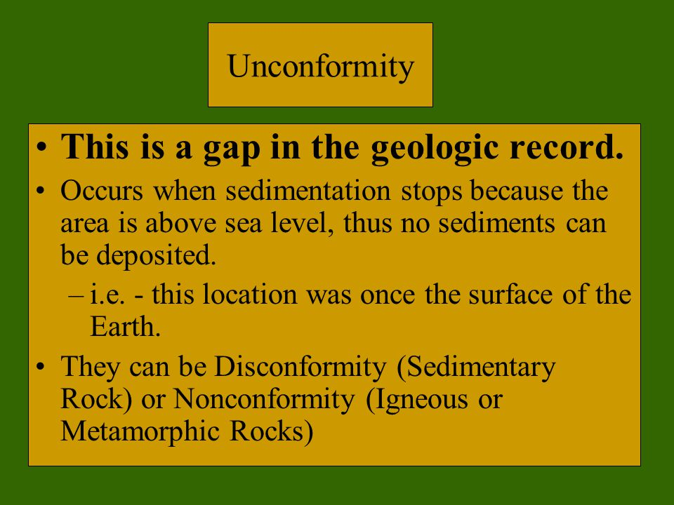 This is a gap in the geologic record.