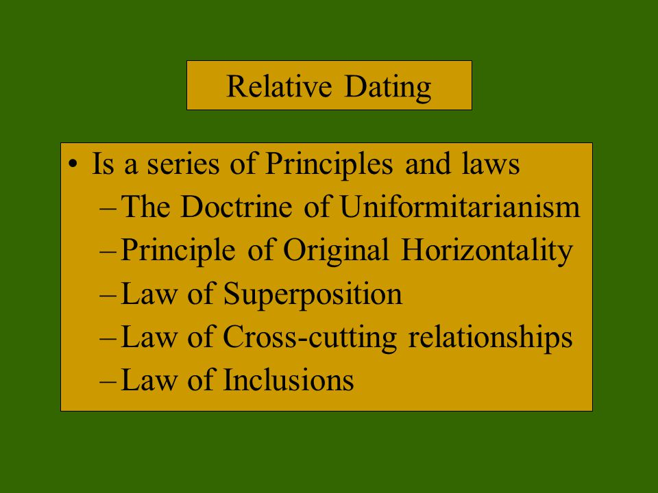 Relate uniformitarianism to principles of relative age hookup