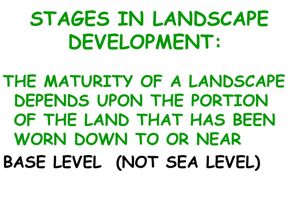 STAGES IN LANDSCAPE DEVELOPMENT: