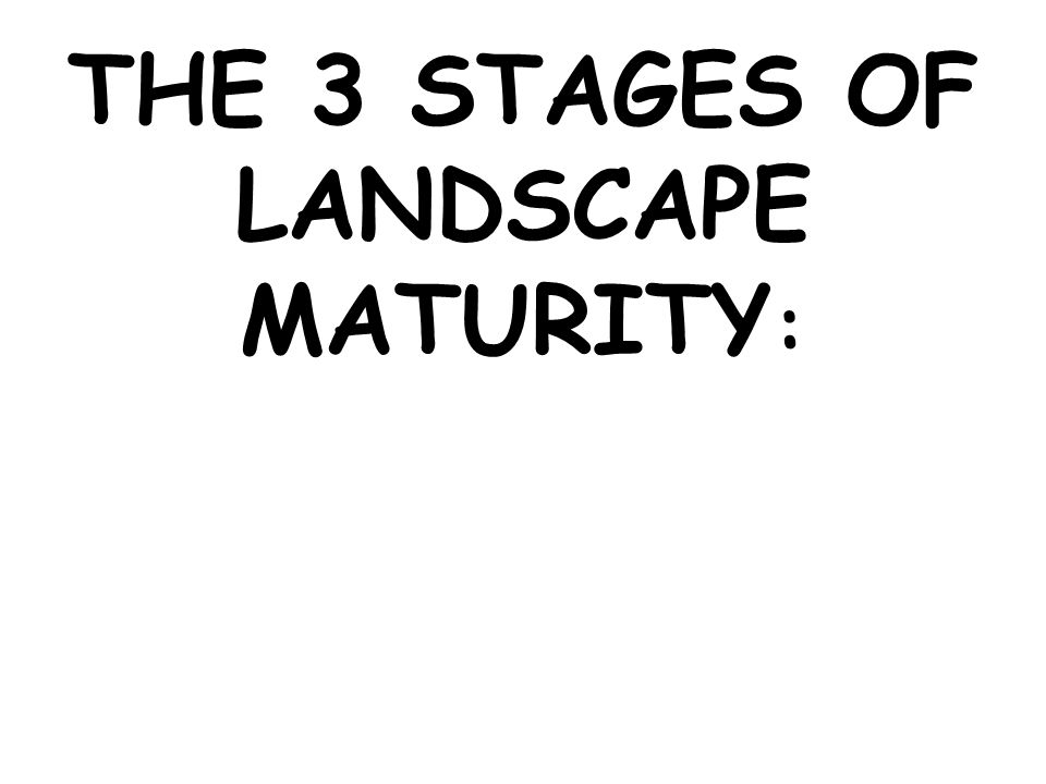 THE 3 STAGES OF LANDSCAPE MATURITY: