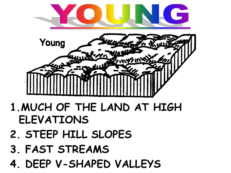 YOUNG 1.MUCH OF THE LAND AT HIGH ELEVATIONS 2. STEEP HILL SLOPES