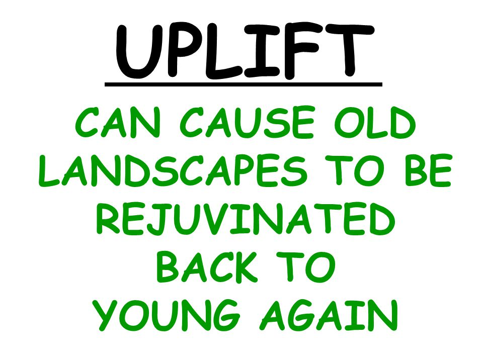 CAN CAUSE OLD LANDSCAPES TO BE REJUVINATED BACK TO YOUNG AGAIN