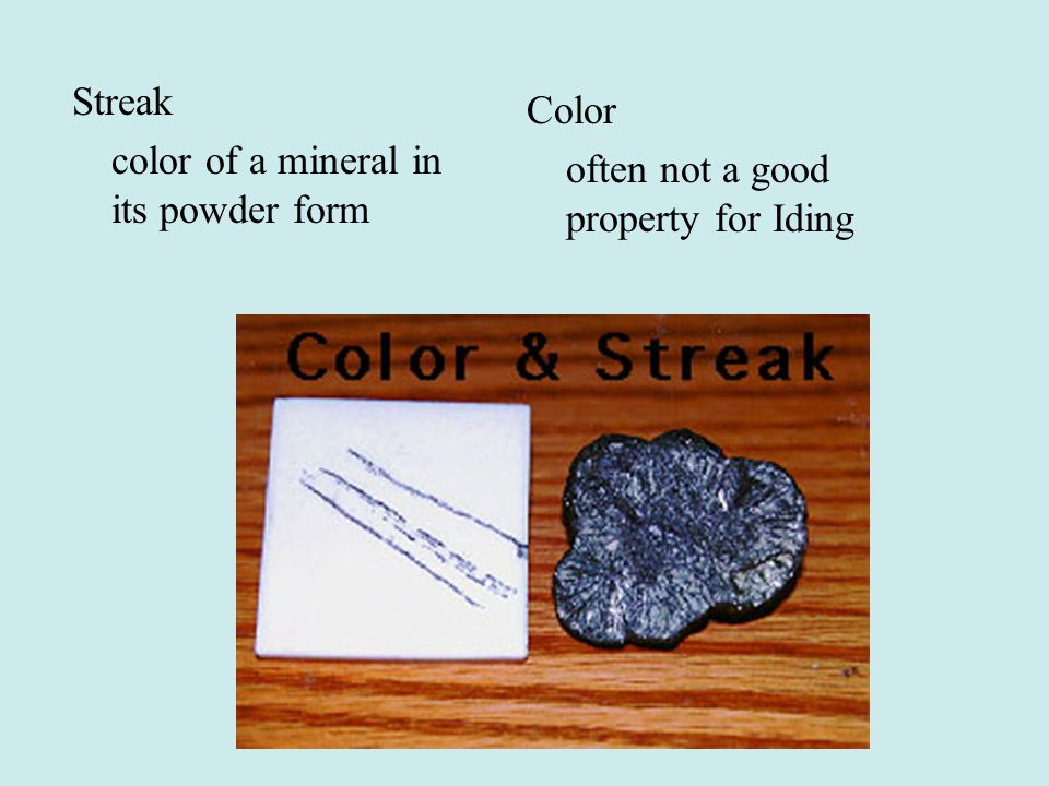 Streak color of a mineral in its powder form