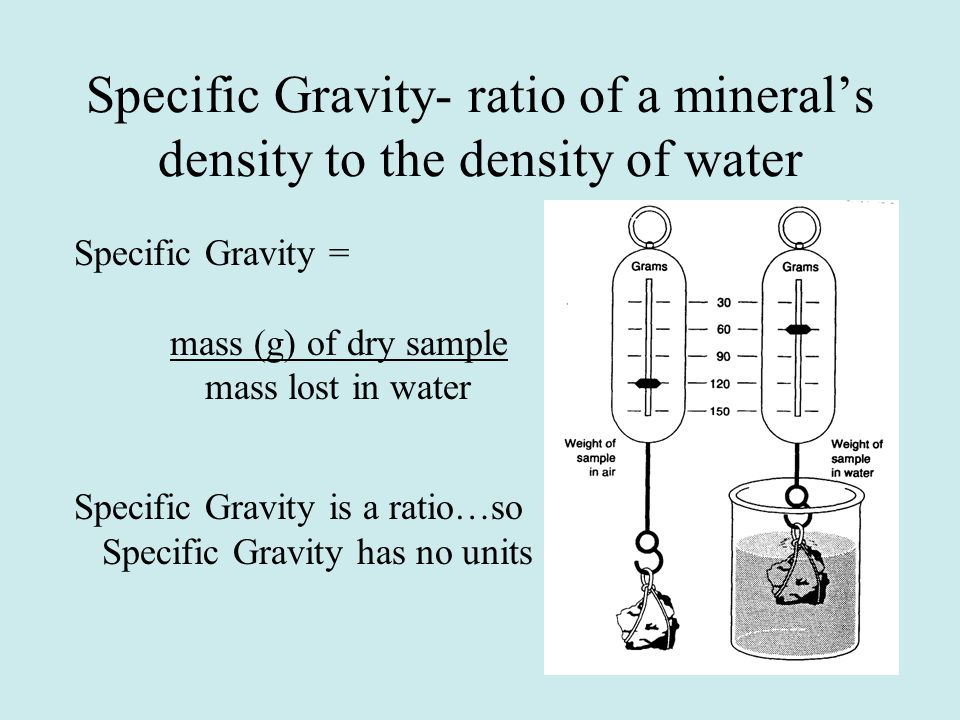 Specific Gravity- ratio of a mineral's density to the density of water