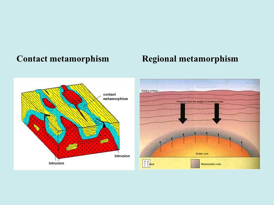 Contact metamorphism Regional metamorphism