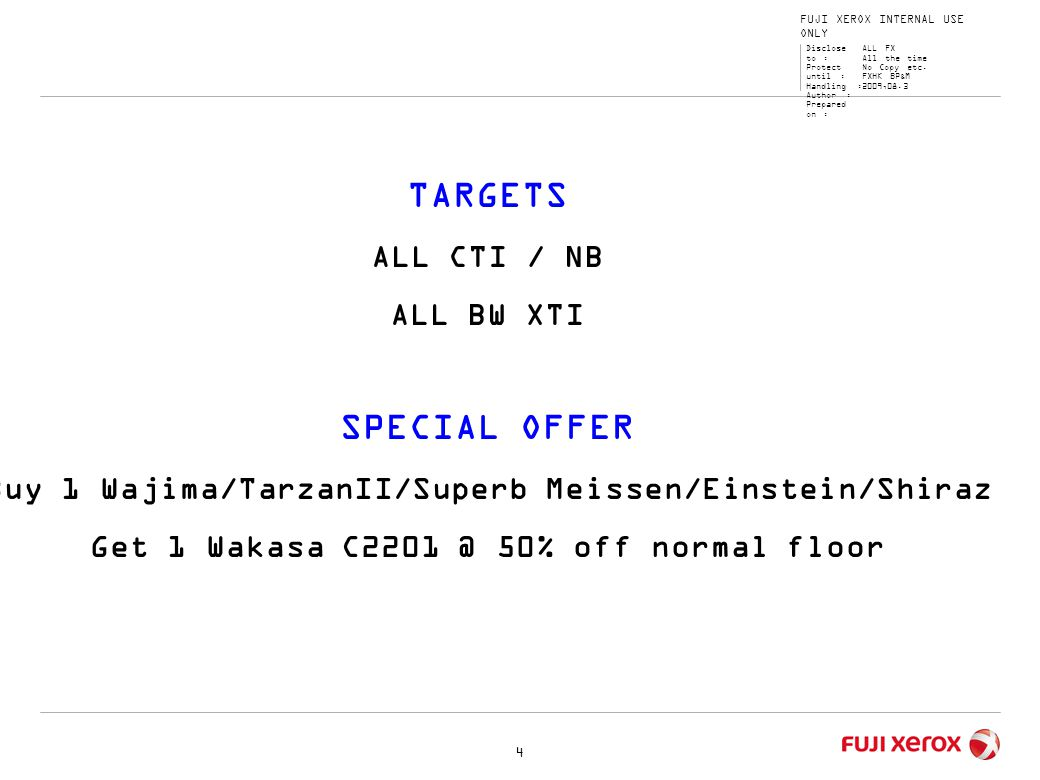 TARGETS SPECIAL OFFER ALL CTI / NB ALL BW XTI