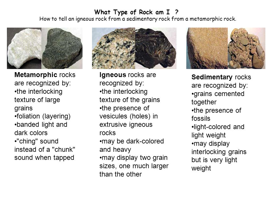 Metamorphic rocks are recognized by: