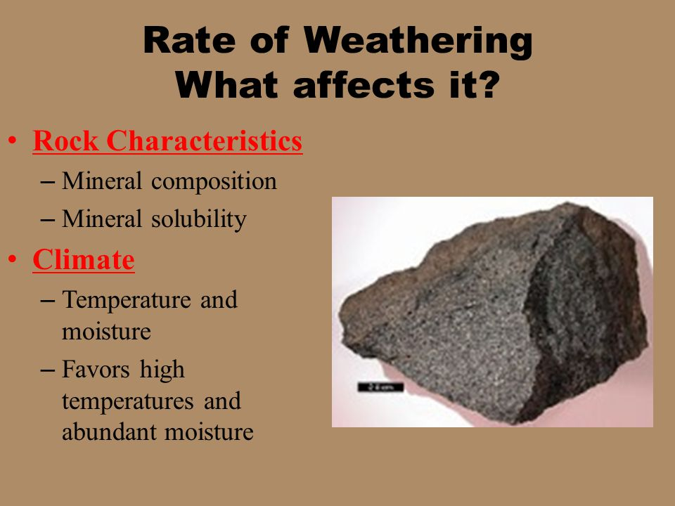Rate of Weathering What affects it