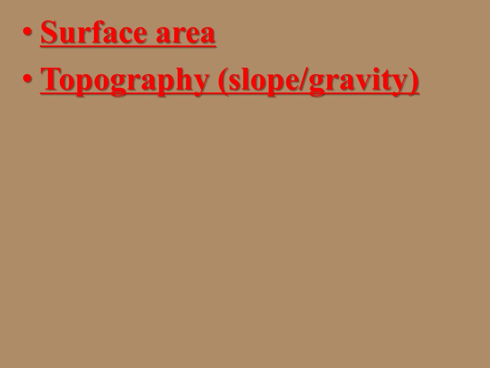 Surface area Topography (slope/gravity)