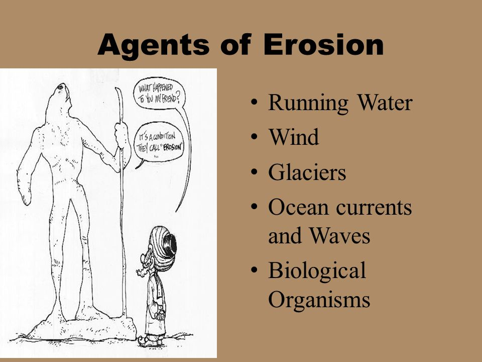 Agents of Erosion Running Water Wind Glaciers Ocean currents and Waves