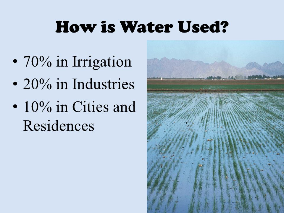 How is Water Used 70% in Irrigation 20% in Industries