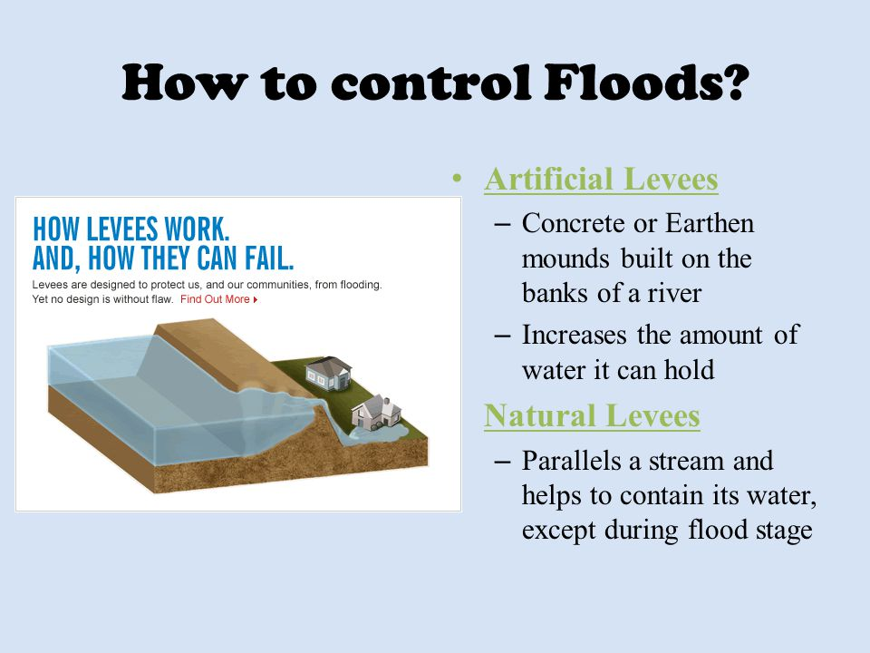 How to control Floods Artificial Levees Natural Levees