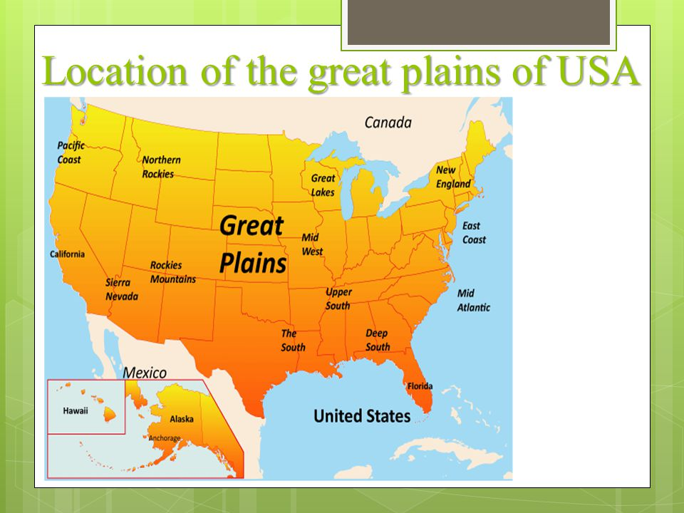 Location of the great plains of USA