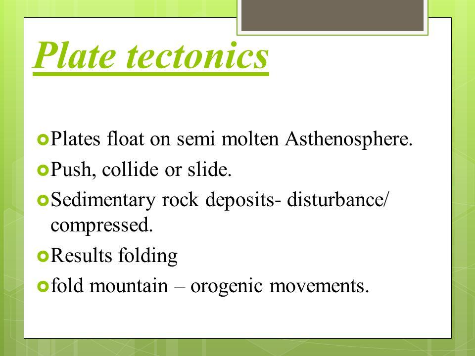 Plate tectonics Plates float on semi molten Asthenosphere.