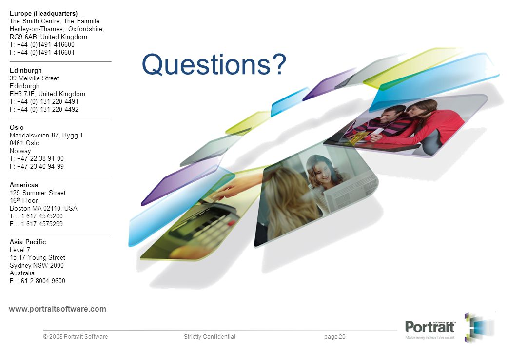 Questions www.portraitsoftware.com Portrait presentation template