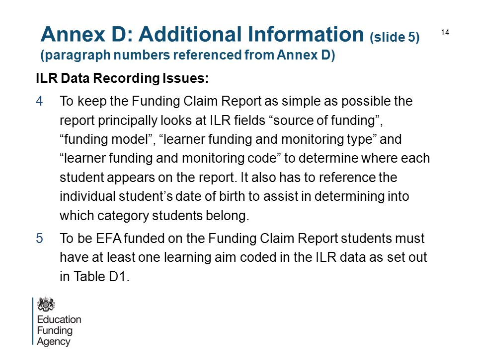 Annex D: Additional Information (slide 5) (paragraph numbers referenced from Annex D)