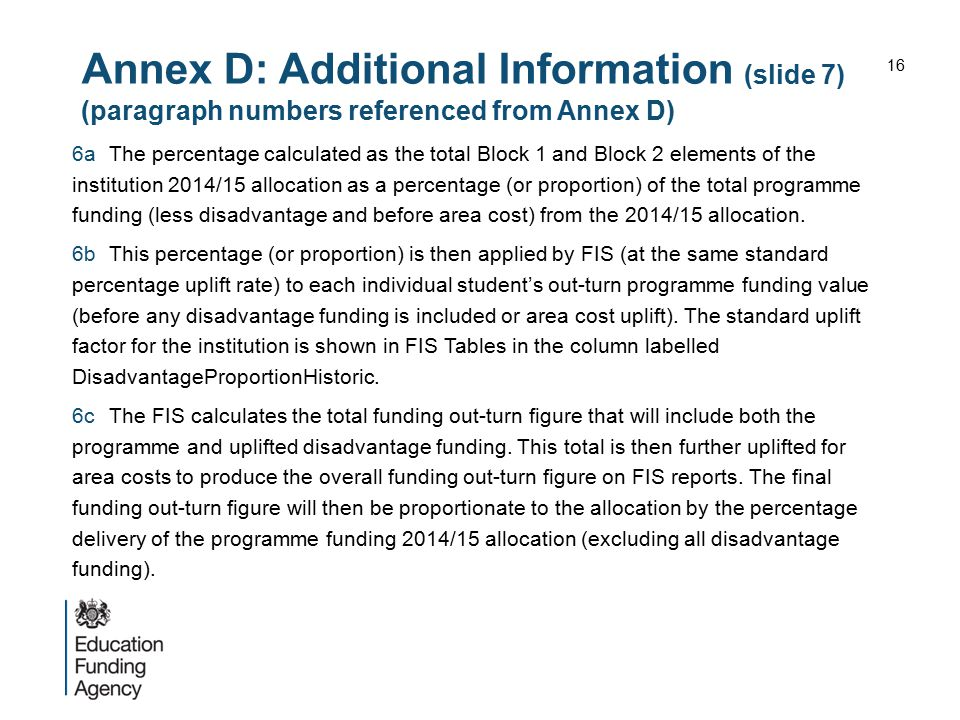 Annex D: Additional Information (slide 7) (paragraph numbers referenced from Annex D)