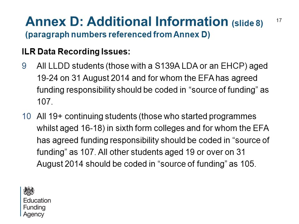 Annex D: Additional Information (slide 8) (paragraph numbers referenced from Annex D)