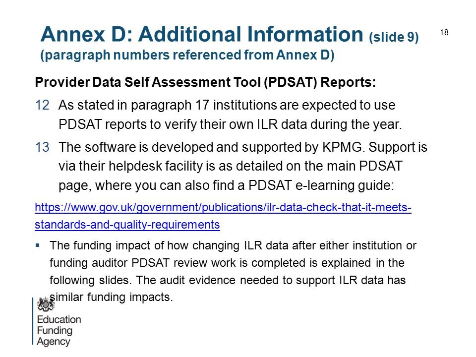 Annex D: Additional Information (slide 9) (paragraph numbers referenced from Annex D)