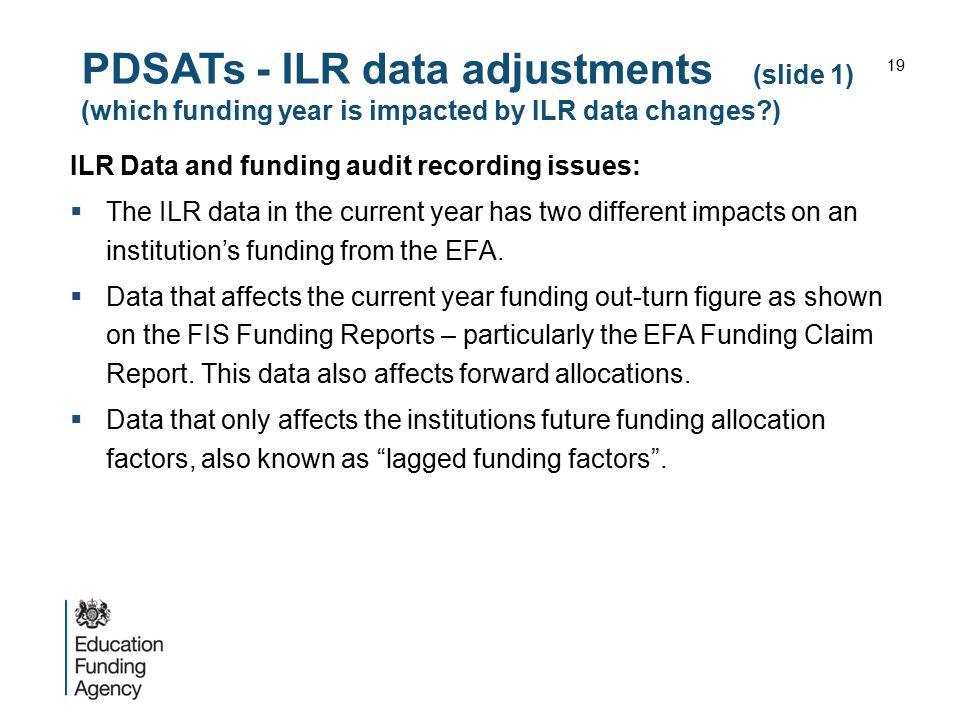 PDSATs - ILR data adjustments