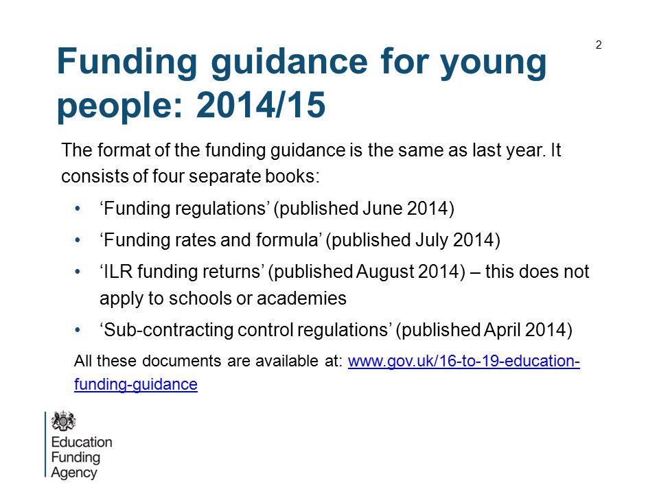 Funding guidance for young people: 2014/15