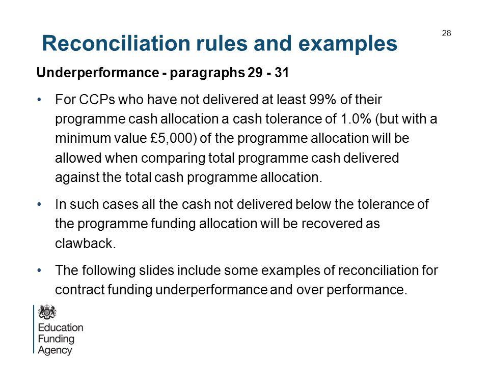 Reconciliation rules and examples
