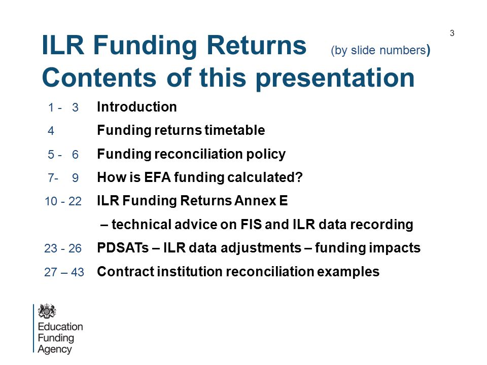 ILR Funding Returns (by slide numbers) Contents of this presentation