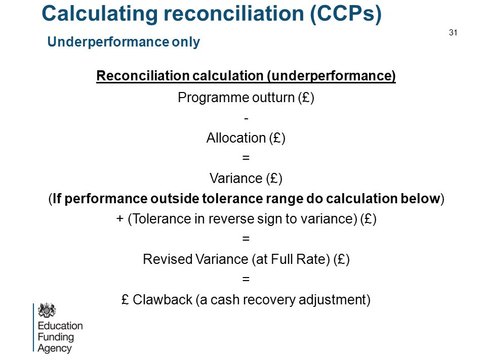 Calculating reconciliation (CCPs) Underperformance only