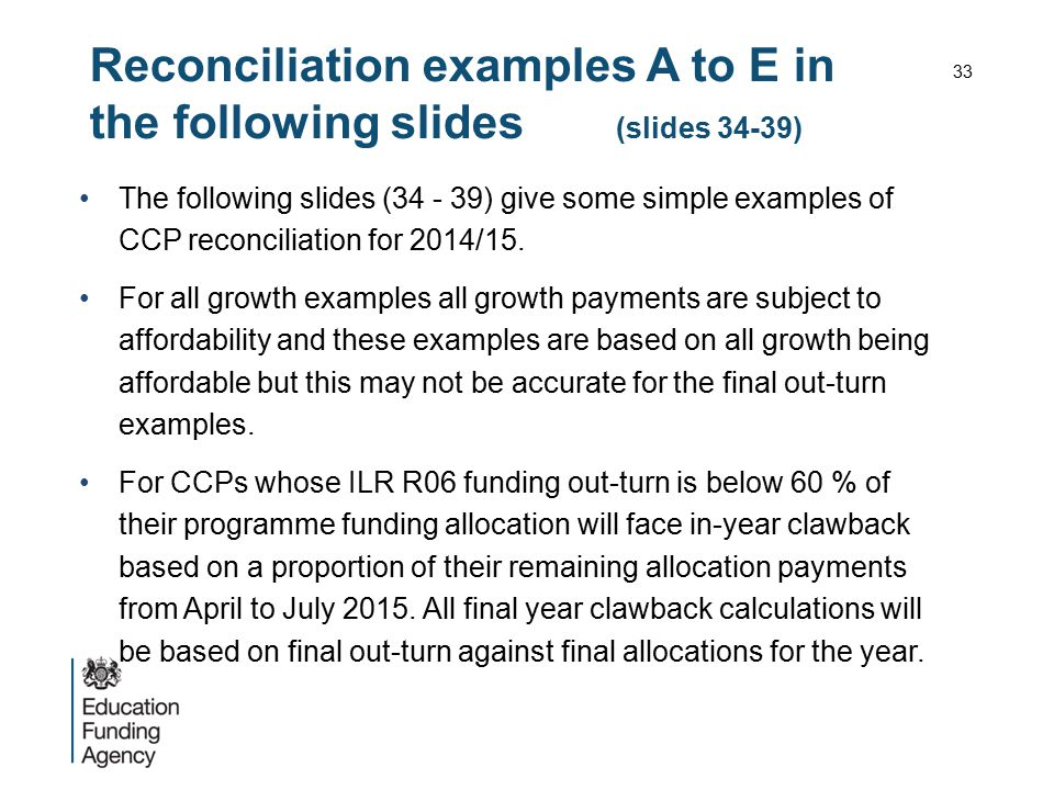 Reconciliation examples A to E in the following slides (slides 34-39)