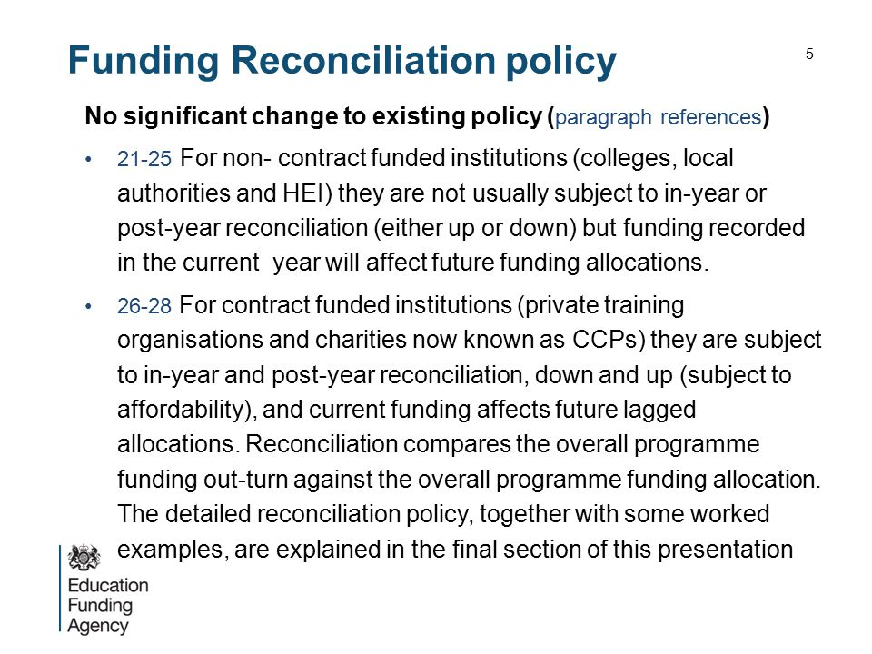 Funding Reconciliation policy