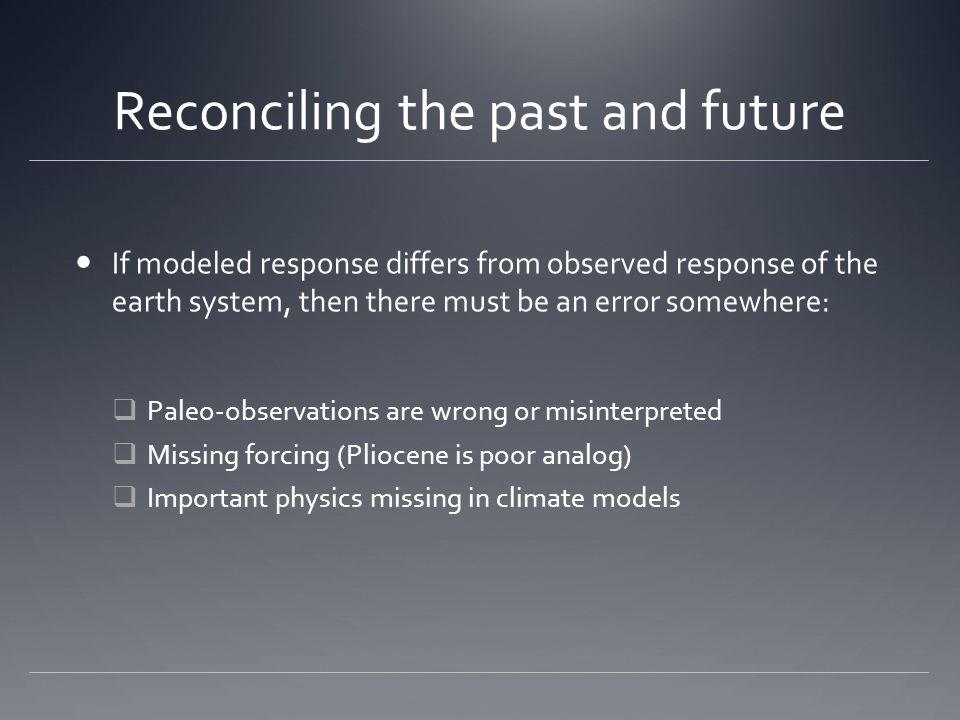 Reconciling the past and future