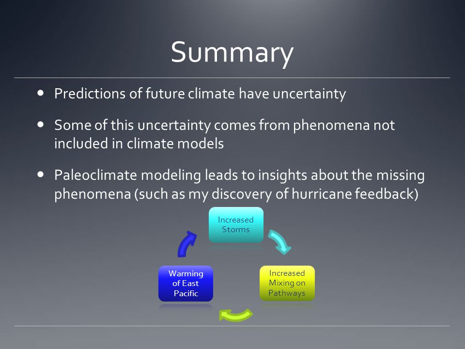 Summary Predictions of future climate have uncertainty