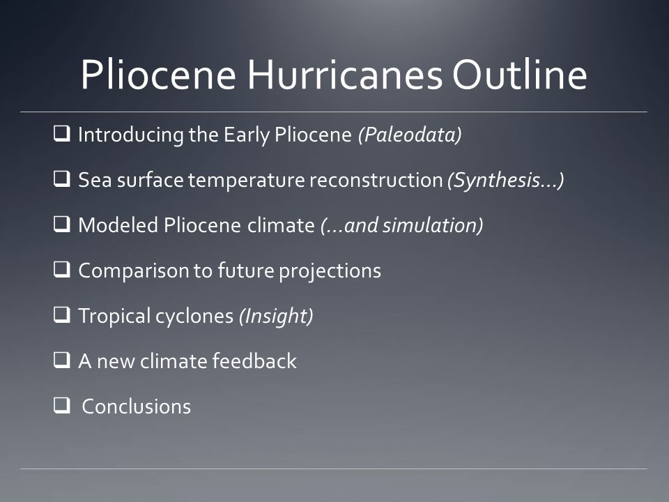 Pliocene Hurricanes Outline
