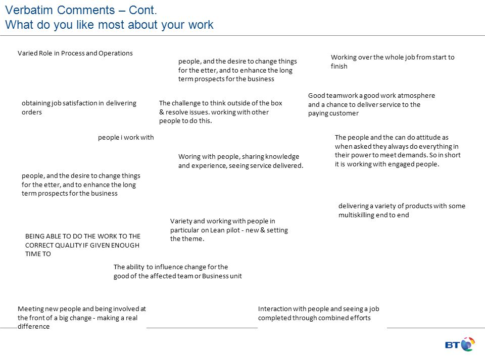 Verbatim Comments – Cont. What do you like most about your work