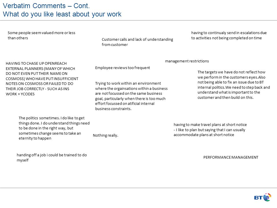 Verbatim Comments – Cont. What do you like least about your work