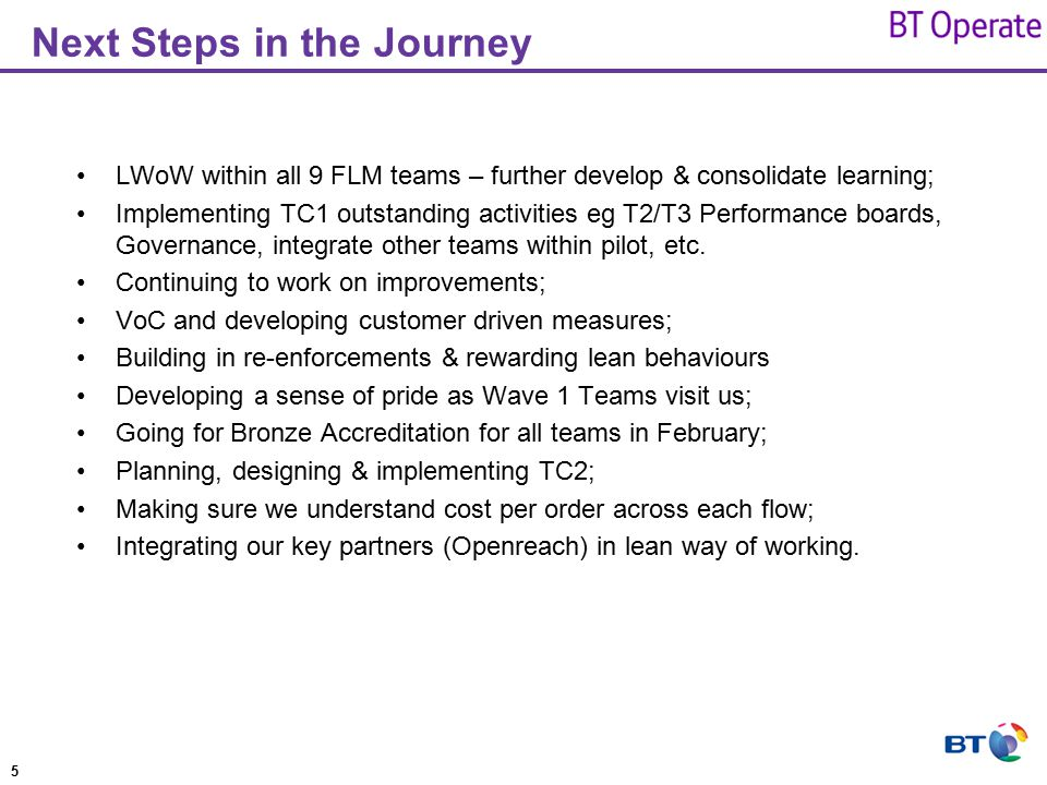 Next Steps in the Journey