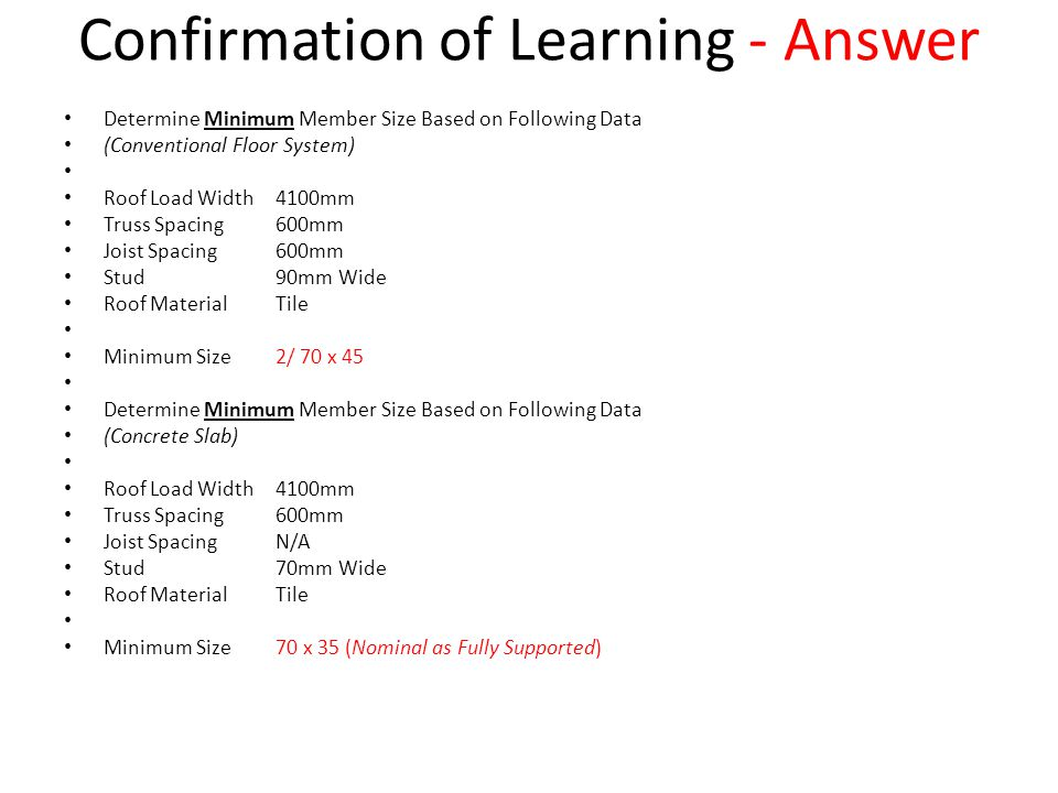 Confirmation of Learning - Answer