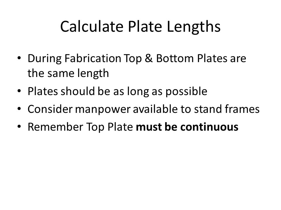 Calculate Plate Lengths