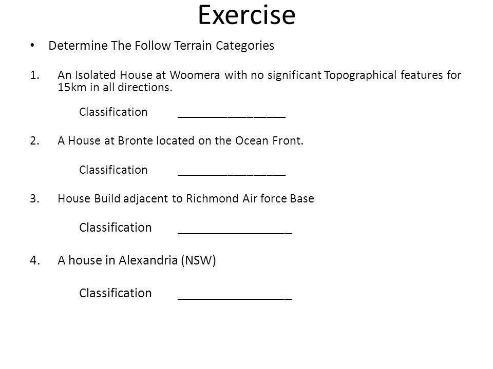 Exercise Determine The Follow Terrain Categories