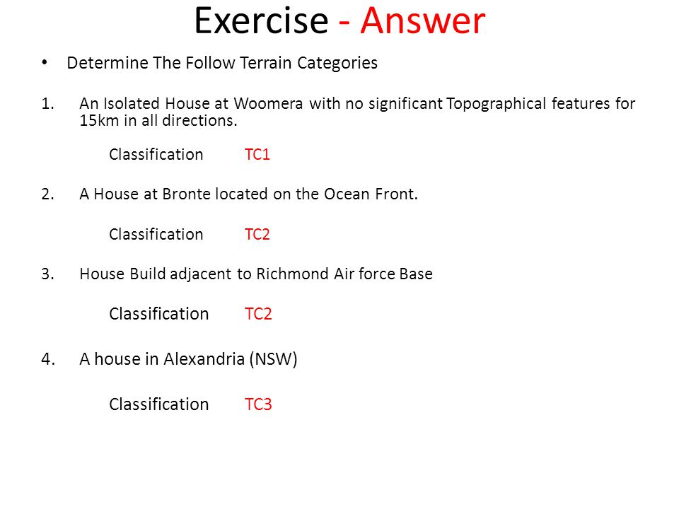 Exercise - Answer Determine The Follow Terrain Categories