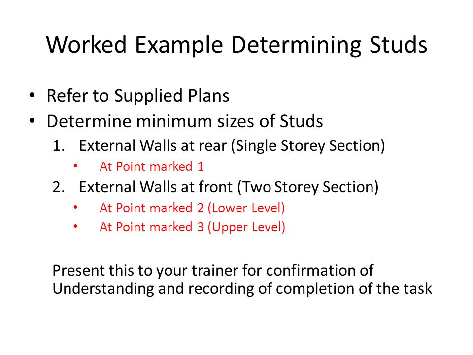 Worked Example Determining Studs