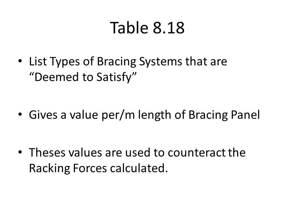 Table 8.18 List Types of Bracing Systems that are Deemed to Satisfy