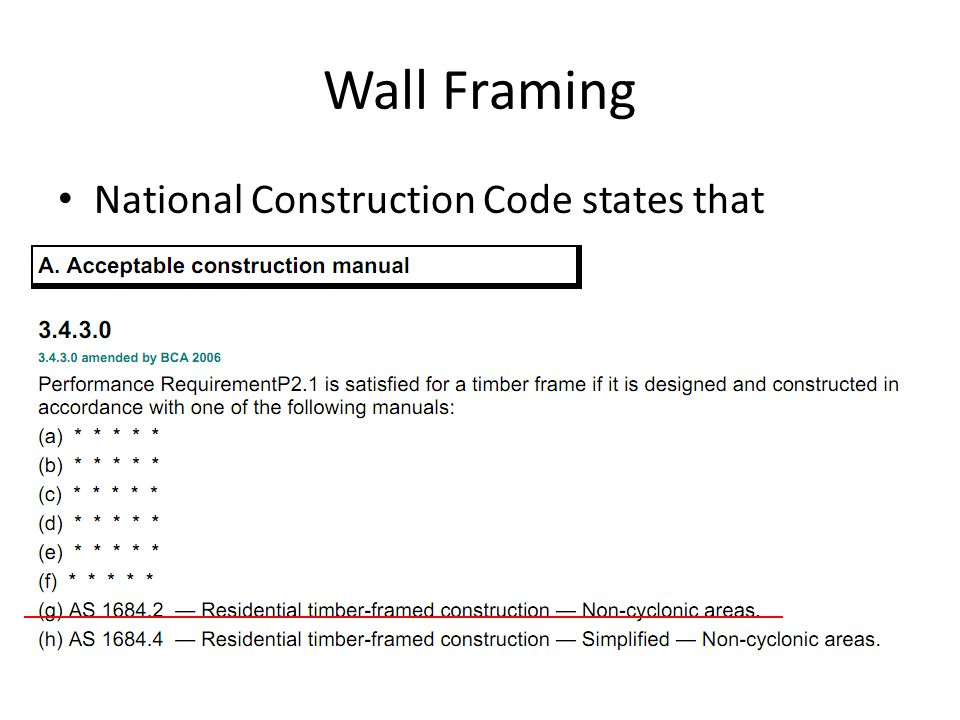 Wall Framing National Construction Code states that