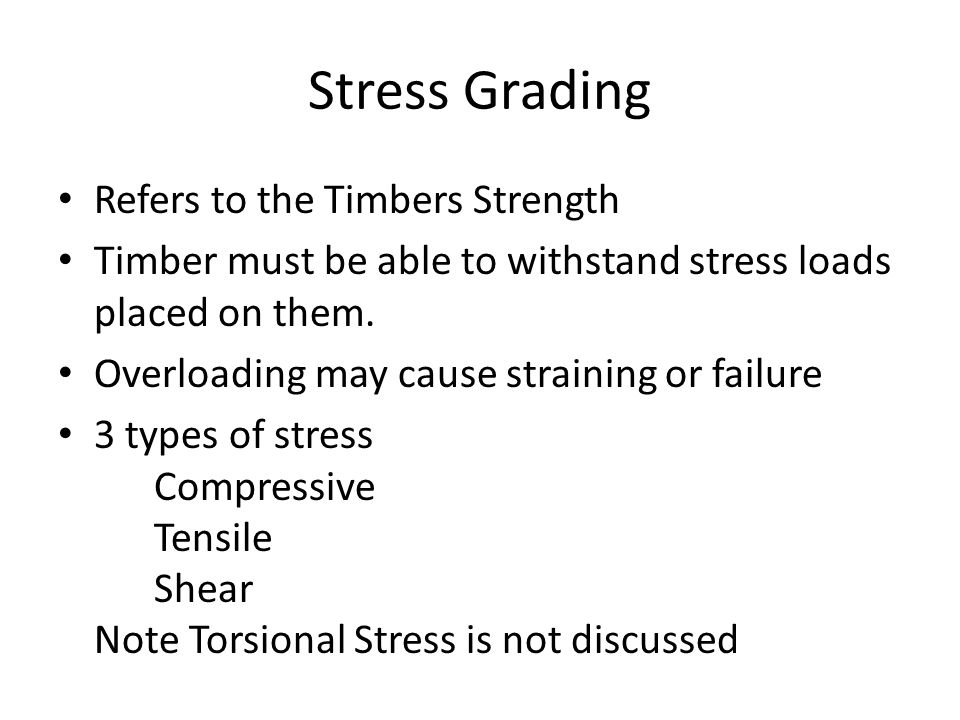 Stress Grading Refers to the Timbers Strength