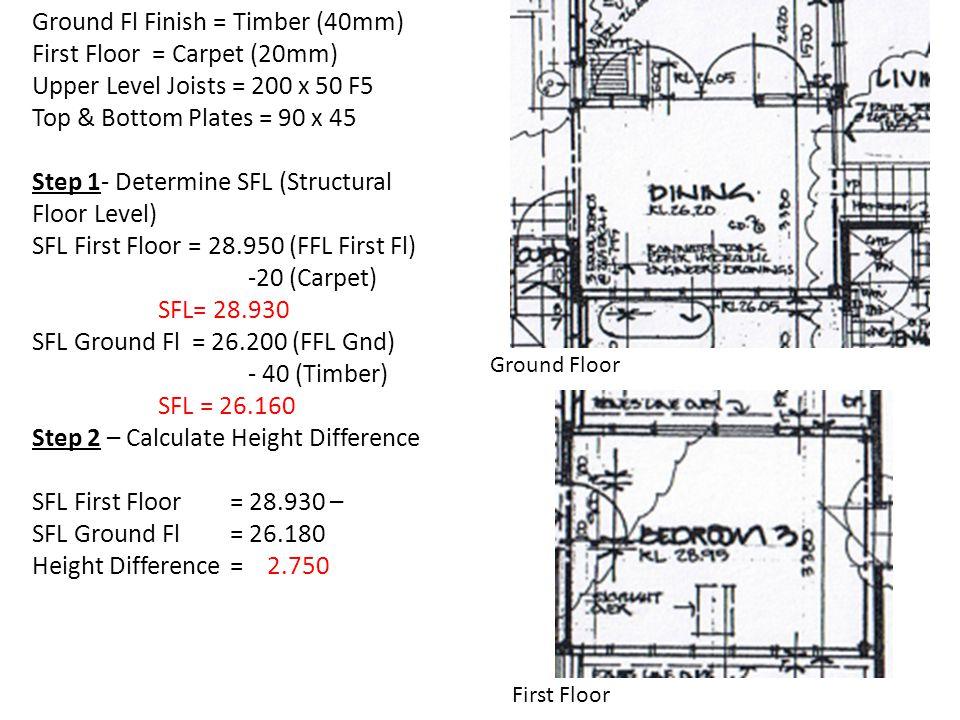 Ground Fl Finish = Timber (40mm) First Floor = Carpet (20mm)