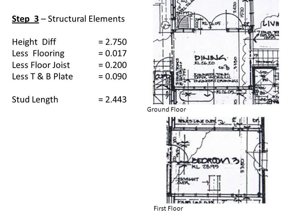Step 3 – Structural Elements Height Diff = 2.750 Less Flooring = 0.017