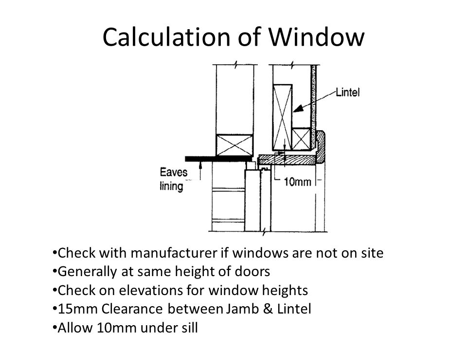 Calculation of Window Check with manufacturer if windows are not on site. Generally at same height of doors.