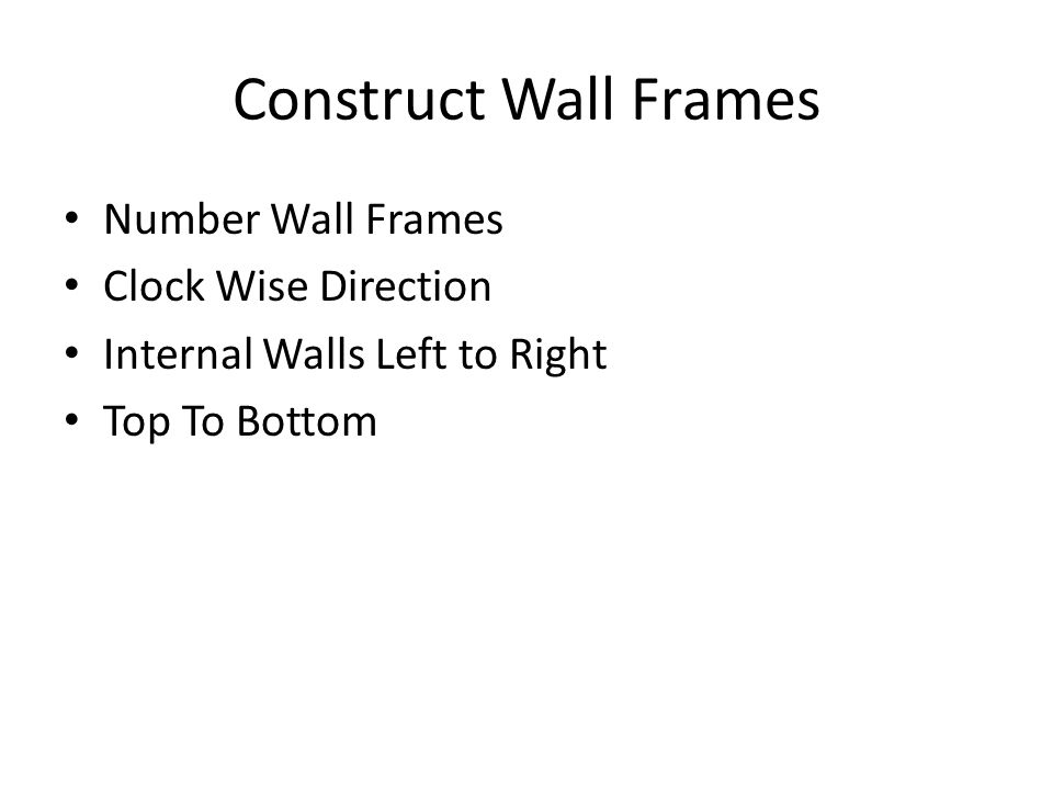 Construct Wall Frames Number Wall Frames Clock Wise Direction