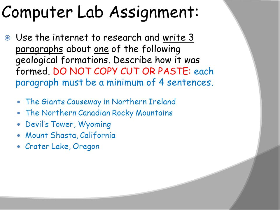 Computer Lab Assignment: